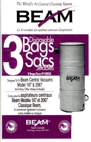 110025-Beam Central Vacuum Bags 3 per Pack