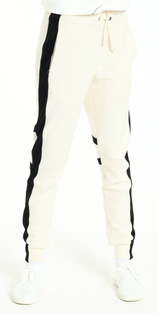 JOGGING PANTS OFF WHITE WITH BLACK STRIP