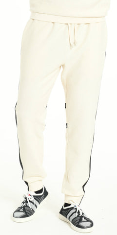 JOGGING PANTS OFFWHITE WITH BLACK STRIP