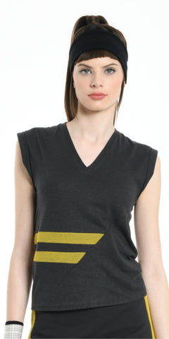 TOP DARK GREY WITH YELLOW STRIPS