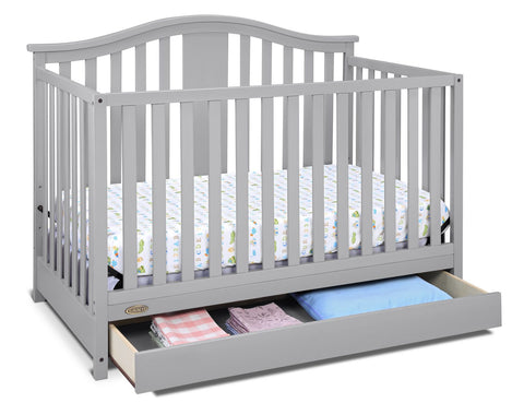 Graco Solano 4-in-1 Crib w/ Drawer - Pebble Grey 3-position adjustable mattress base