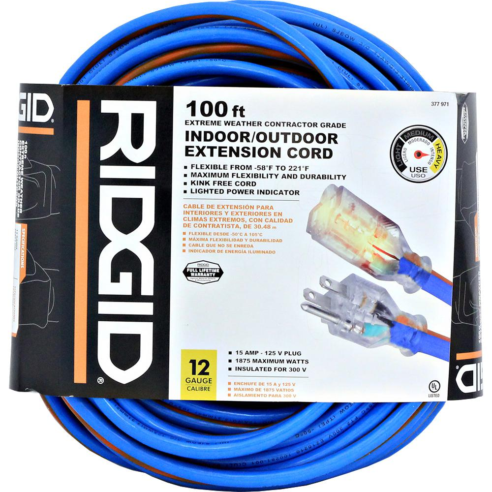 RIDGID 100 Feet All Weather Contractor Grade Extension Cord 12 Gauge