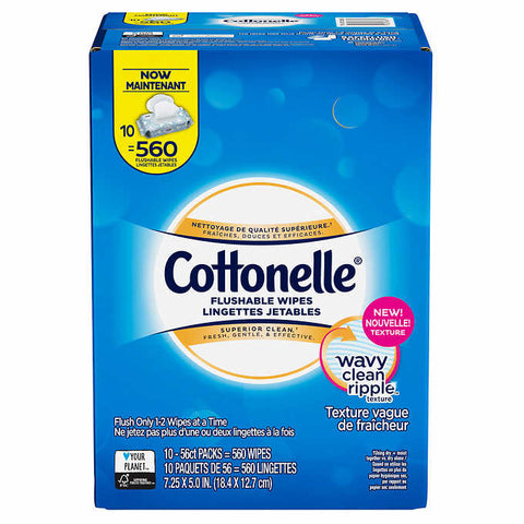 Cottonelle Flushable Wipes, 10-pack of 56