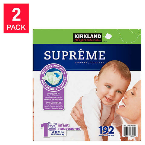 Kirkland Signature Supreme Diapers (available sizes 1 through 6), 2-pack