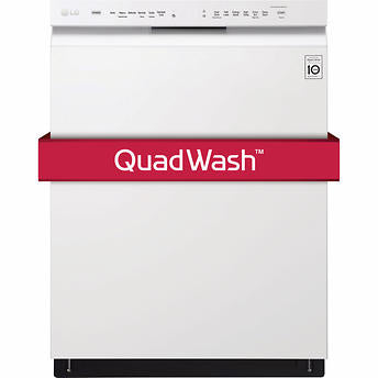 LG 24 in. Front Control Dishwasher with QuadWash System and Inverter DirectDrive Motor - White