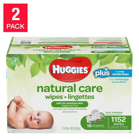 Huggies Plus Natural Care Wipes, 2 pack of 18 x 64 wipes