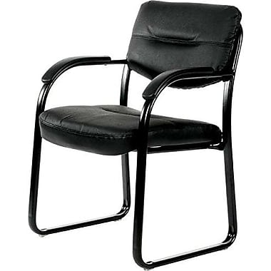 Sled Base Side Guest Chair with Arms, Black Leather