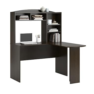 Dorel Sutton L-Shaped Desk with Hutch, Espresso