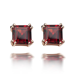 Hestia Red Garnet Stud Earrings