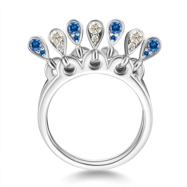 Charleston Doublet Ring - Diamonds and Blue Sapphires