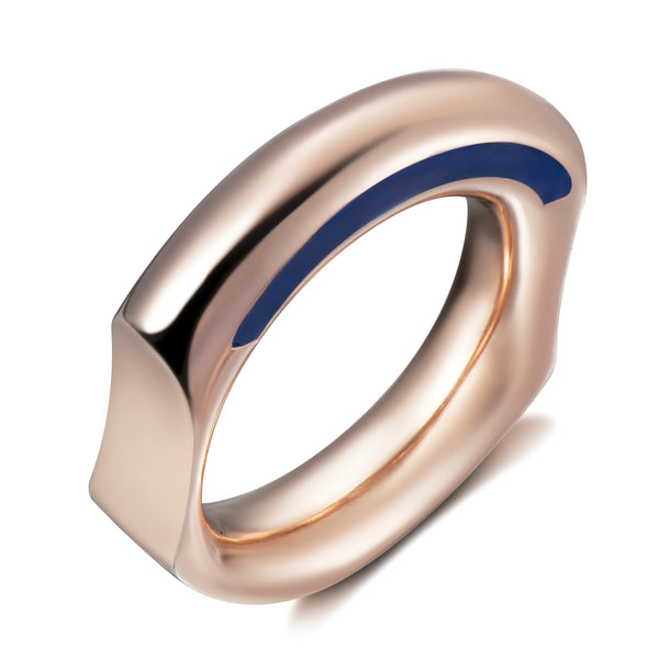 Curve Ring with Blue Enamelling