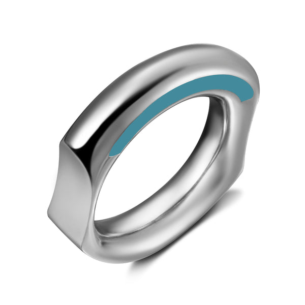 Curve Silver Ring with Light Blue Enamelling