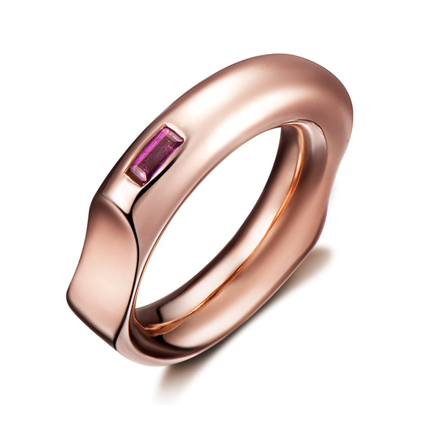 Curve Ring with Purple Amethyst