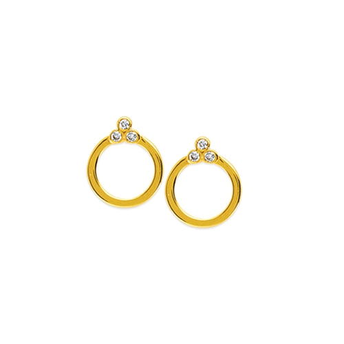Embrace Diamond Trio Circle Stud Earrings