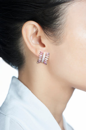Spettinato Diamond Row Earrings - Pink and Purple Sapphires