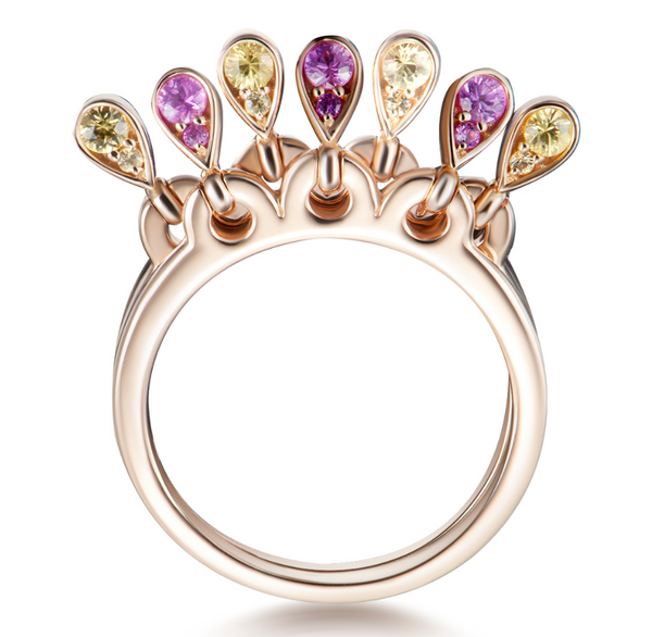 Charleston Doublet Ring - Pink and Yellow Sapphires