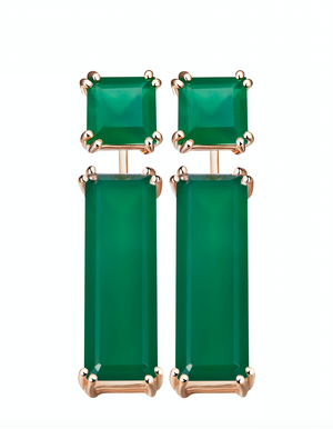 Hestia Green Agate Stud and Gem Bar Earrings