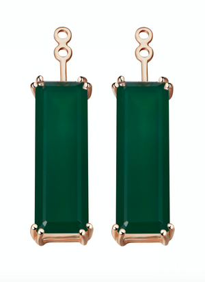 Hestia Green Agate Gem Bar Earrings