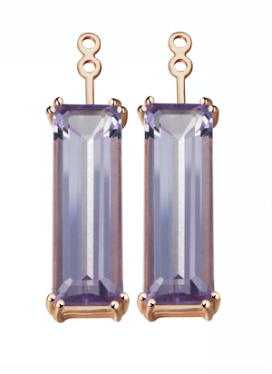 Hestia Purple Amethyst Gem Bar Earrings