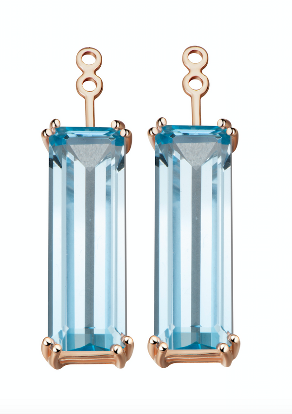 Hestia Swiss Blue Topaz Gem Bar Earrings