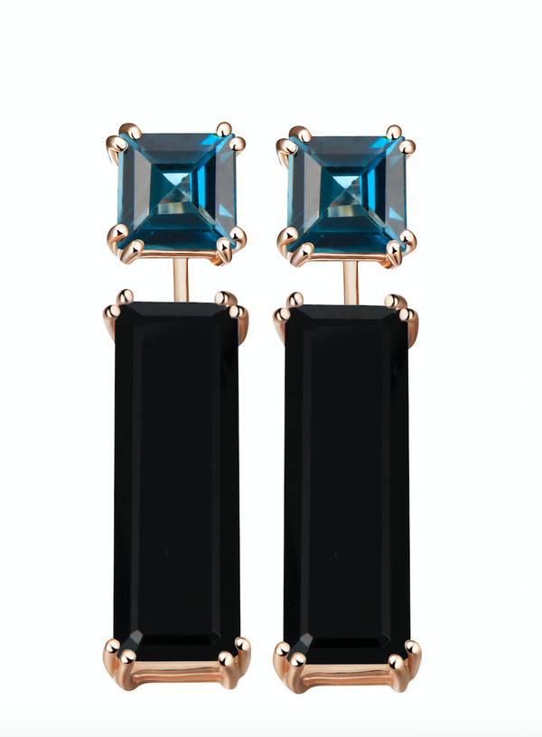 Hestia London Blue Topaz and Black Onyx Earrings