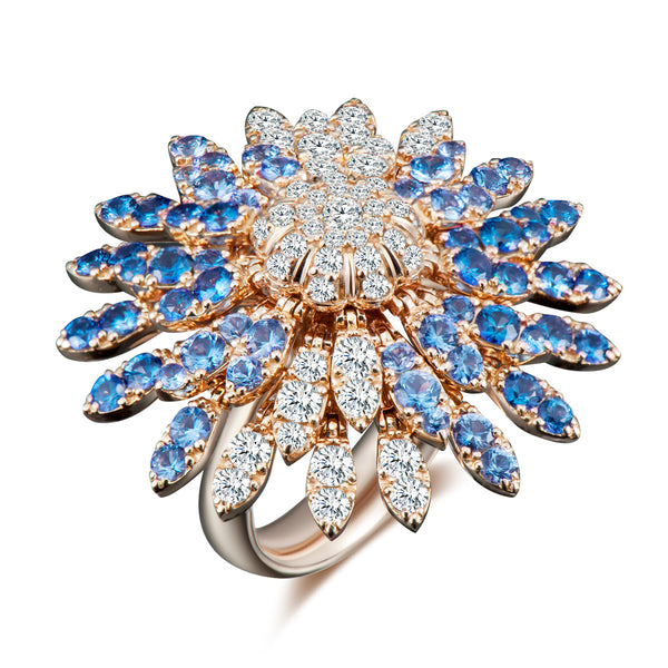 Sole Sunflower Kinetic Ring - Diamonds and Blue Sapphires