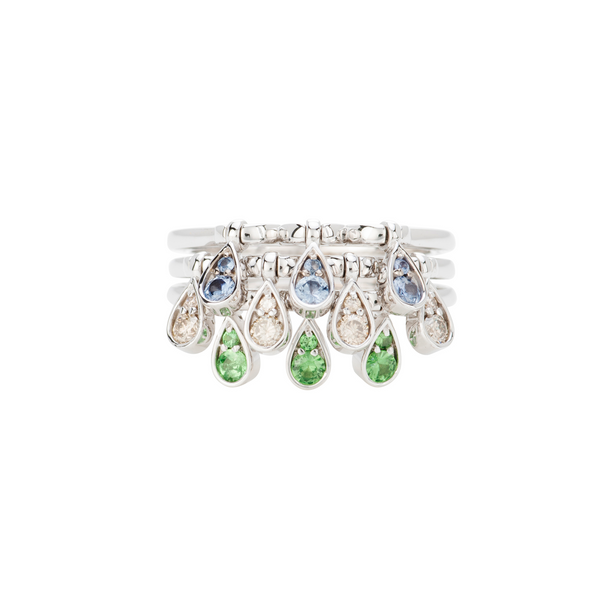 Charleston Trio Drop Ring - Sapphires, Emeralds and Diamonds
