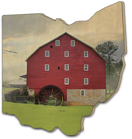 Lori Deiter LD1016OH - Willow Grove Mill - Barn, Country, Landscape, Red Barn, Bird on Wire, Tree, Photography, Wood Cutout from Penny Lane Publishing