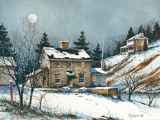 John Rossini JR353 - A February Evening - 16x12 House, Homestead, Snow, Winter, Stone House, Evening, Moon from Penny Lane