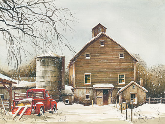 John Rossini JR361 - Clearing Out - 16x12 Farm, Barn, Winter, Snow, Truck from Penny Lane
