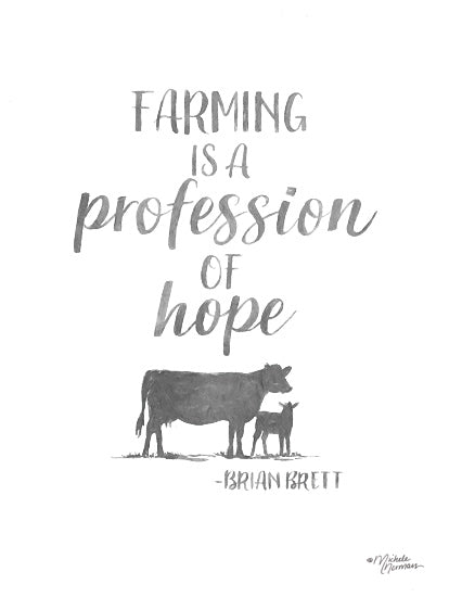 Michele Norman MN182 - MN182 - Profession of Hope - 12x16 Farming, Profession of Hope, Quote, Brian Britt, Cows, Black & White from Penny Lane