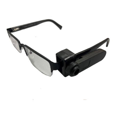 Security tag shown attached to eyeglasses to prevent shoplifting for AM 58KHz Electronic Article Surveillance (EAS) anti-theft systems at retail