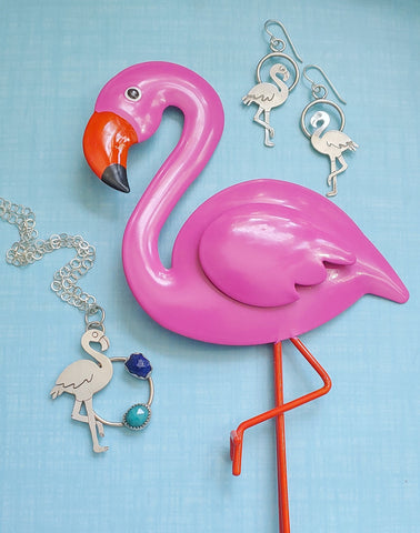 pink flamingo and sterling silver flamingo necklace and earrings