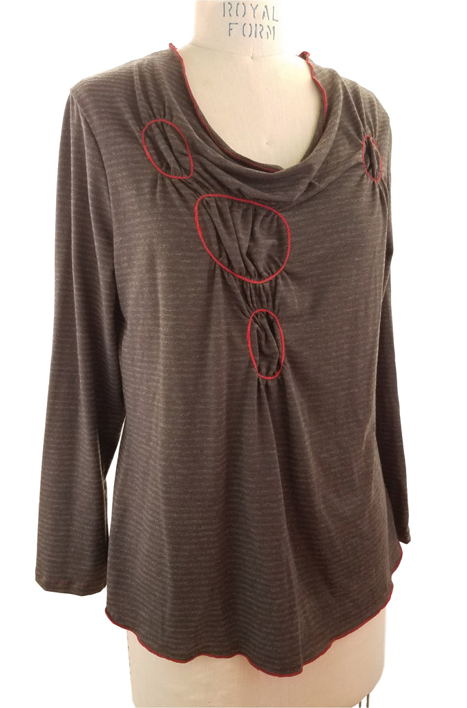 Red Gathered Circle Top front