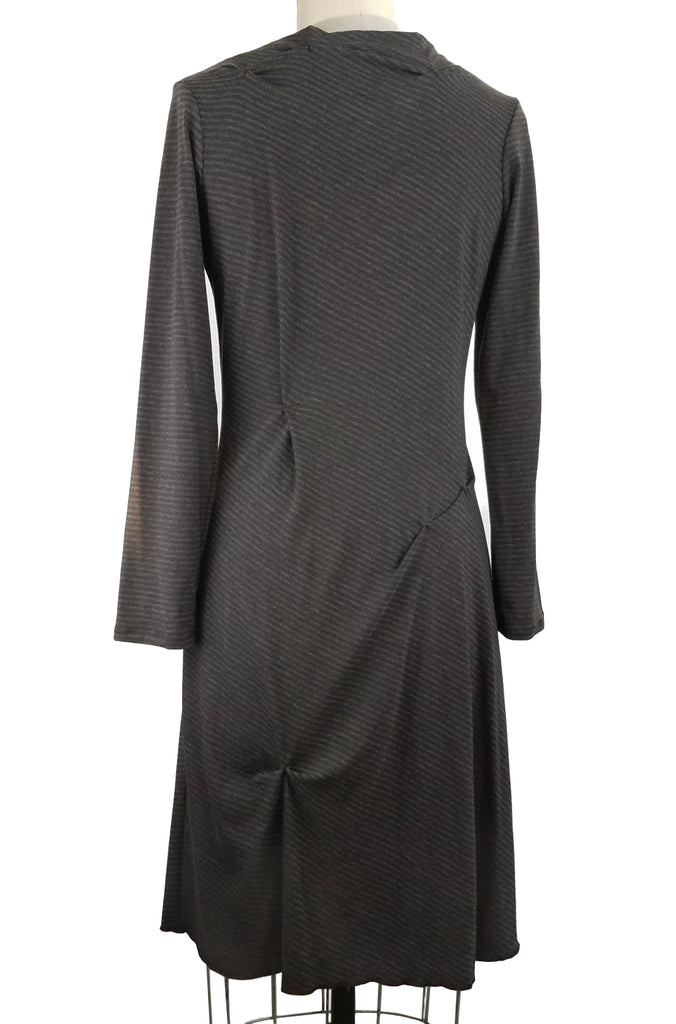Funnel Neck Dress, Grey Stripe, back