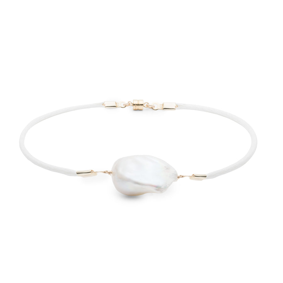 Baroque Freshwater Pearl & Satin Anklet - Gold