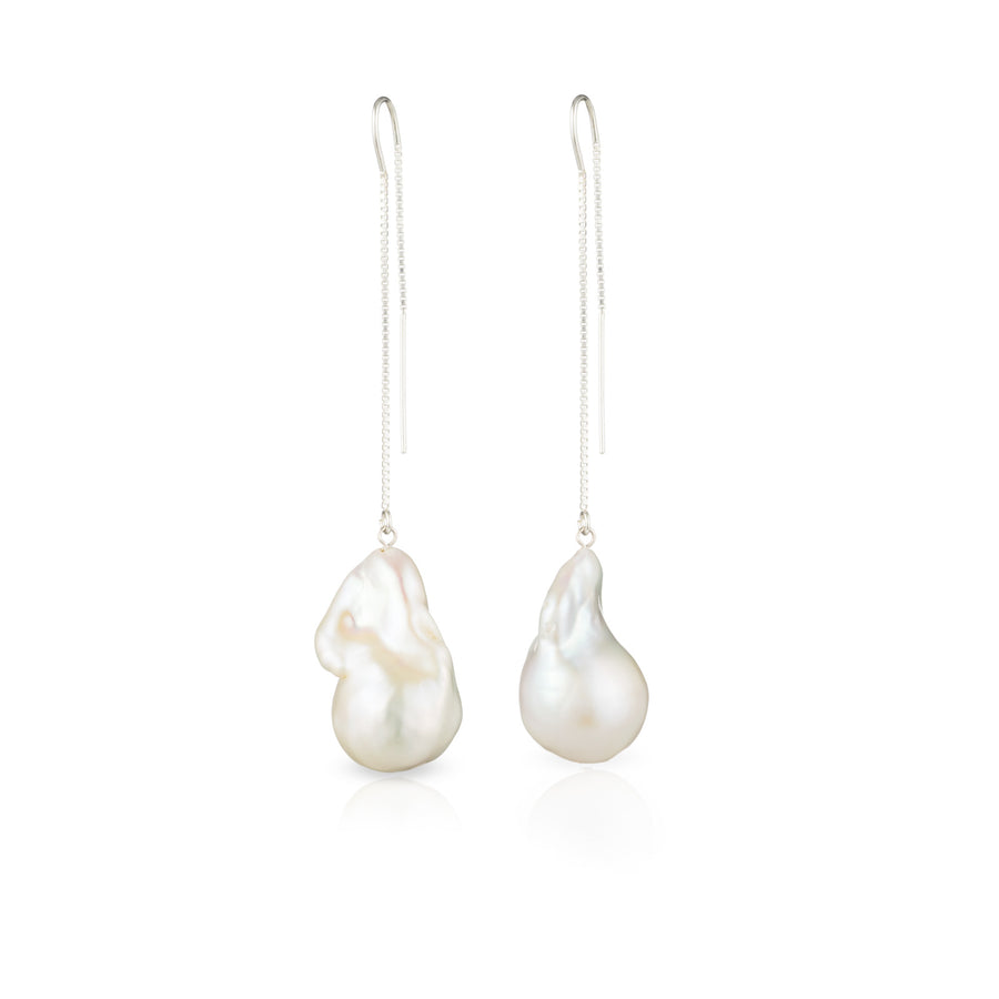 Sterling Silver Baroque Freshwater Pearl Threader Earrings