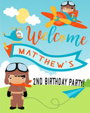 Airplane Pilot Birthday Party Welcome Sign - Invitetique