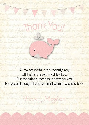 A Happy whale & Squirt Thank you notes - Pink - Invitetique
