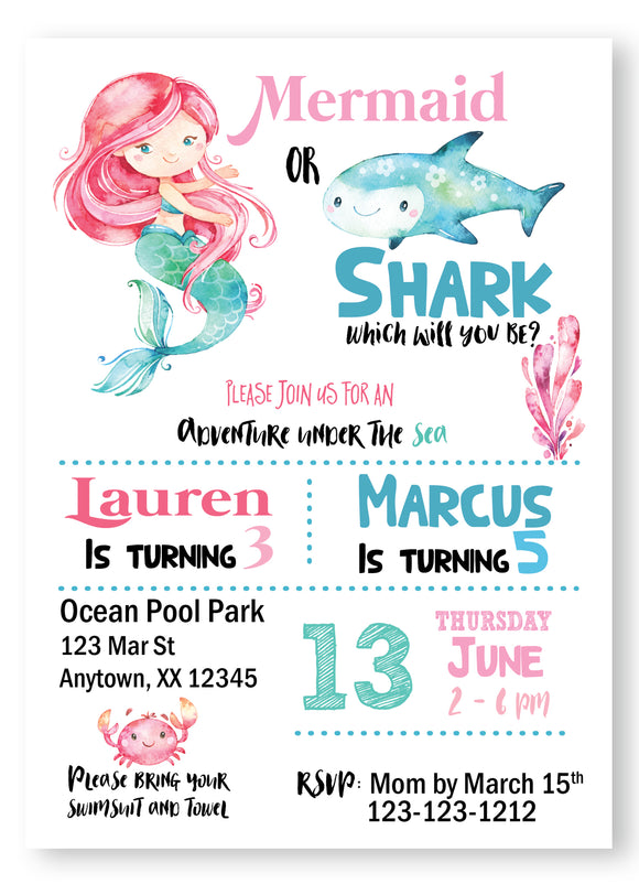 Mermaid & Shark Digital Birthday Invitations - Invitetique