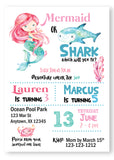Mermaid & Shark Birthday Invitations - Invitetique