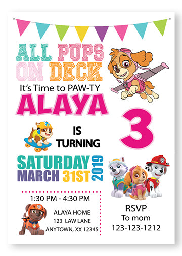 Paw Patrol girl Birthday Invitations - Girl - Invitetique