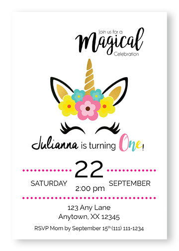 Magical Unicorn Invitations - Invitetique