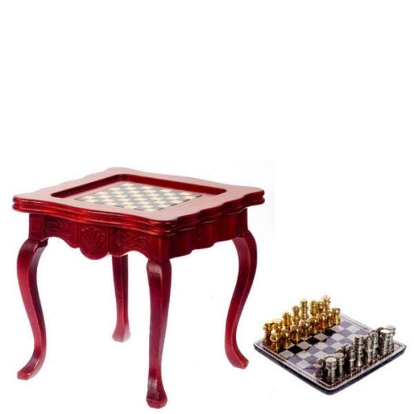 A dollhouse miniature chess table with removable chess game.