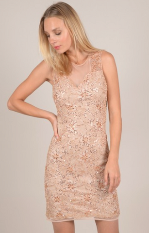 Bodycon Dress With Sequin Back Tulle