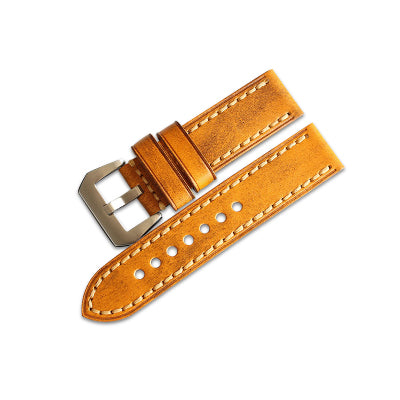New Arrival Yellow Brown Handmade Rolex Seiko Panerai Real Cow Leather Strap watch band custom made 20 22 24 26MM