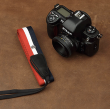 Tailor Handmade Real Cow Leather French france flag cotton pattern Camera strap slr dslr buckles Leica Nikon Sony Olympus Canon fujifilm Bag
