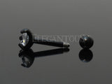 Set Of Three Sizes Cartilage Helix Earring, Black Tragus Piercing Stud