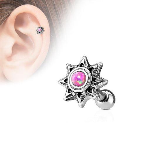 Purple Opal Set Tribal Sun 316L Surgical Steel Cartilage / Tragus Barbell