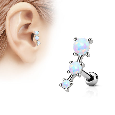 Triple Opal Prong Set 316L Surgical Steel Tragus / Cartilage Barbell